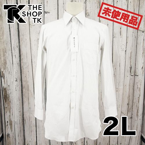 【新古品/未使用】THE SHOP TK ストライプ ビジネスシャツ 2L USED 古着
