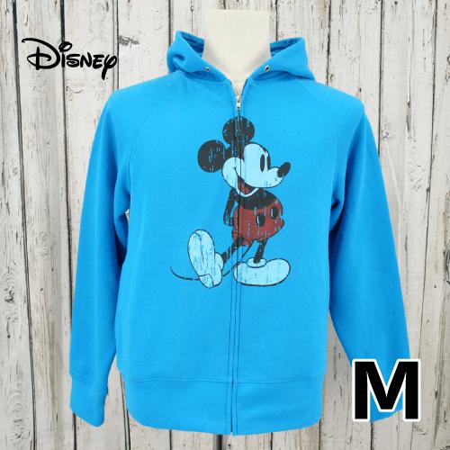 【美品】 Disney(ディズニー) ダメージ風ミッキー フルジップ パーカー M USED 古着