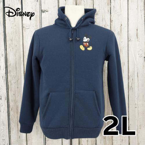 【美品】 Disney(ディズニー) 刺繍入り裏起毛 ジップアップ パーカー 2L USED