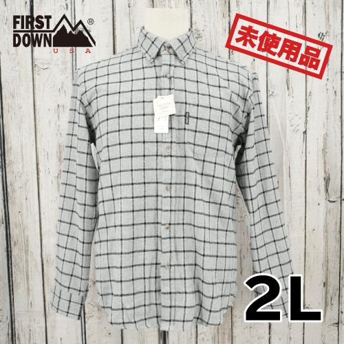 【新古品/未使用】 FIRST DOWN 長袖 チェック シャツ 2L USED
