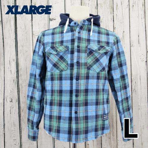X-LARGE(エクストララージ) フード付き チェック シャツ L USED