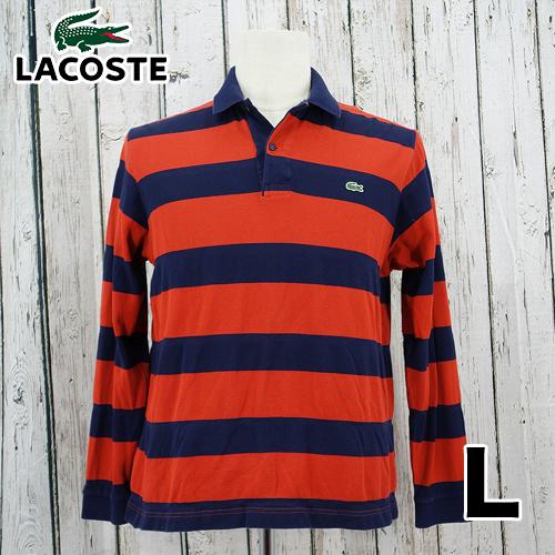 【美品】LACOSTE(ラコステ) 刺繍 ロゴ 長袖 ポロシャツ L USED