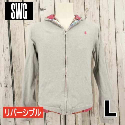 【美品】SWAGGER リバーシブル チェック柄 ジップアップ パーカー L USED