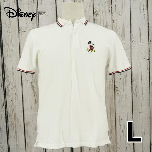 【美品】 Disney(ディズニー) 刺繍ロゴ ワッペン 半袖 ポロシャツ L USED