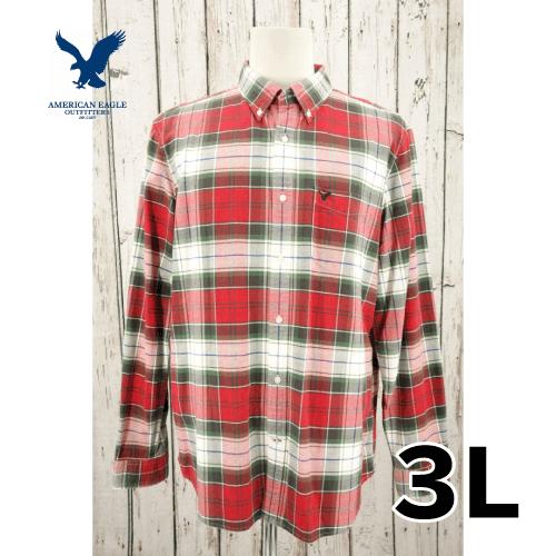 【美品】 AMERICAN EAGLE OUTFITTERS 長袖チェックシャツ 3L USED 古着