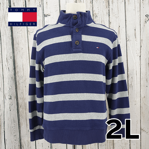 【美品】 TOMMY HILFIGER(トミーヒルフィガー) 刺繍 襟付き ハイネック セーター 2L USED