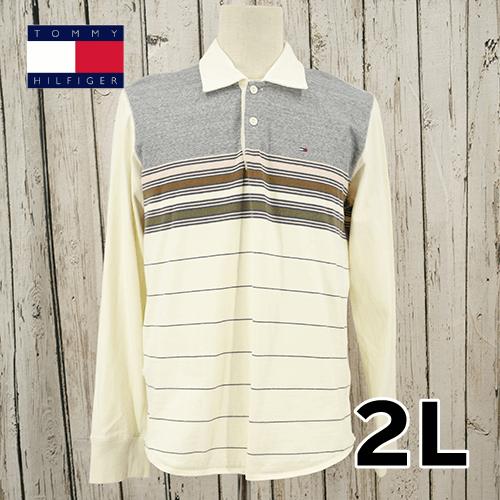 【美品】 TOMMY HILFIGER(トミーヒルフィガー) ボーダー 長袖 ポロシャツ  2L USED