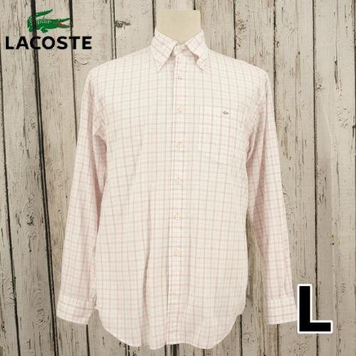 【美品】 LACOSTE(ラコステ) 刺繍 ロゴ 長袖 チェック シャツ L USED