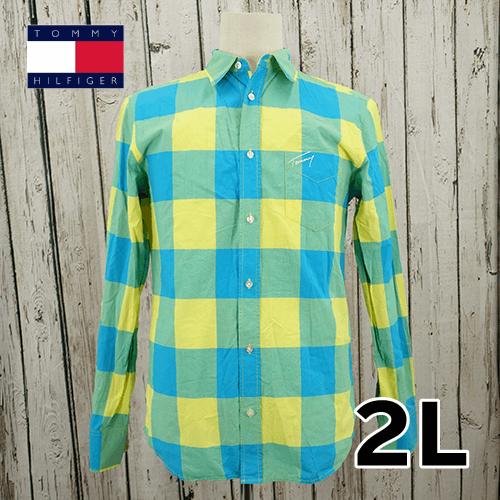 【美品】 TOMMY HILFIGER(トミーヒルフィガー) 刺繍 長袖 シャツ 2L USED