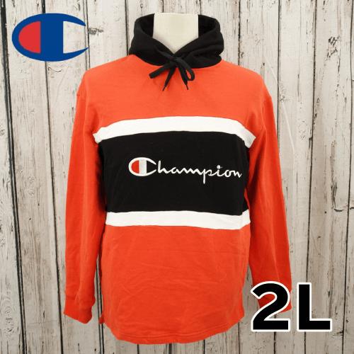 【美品】 Champion(チャンピオン) 刺繍 ビッグロゴ プルオーバー パーカー 2L USED