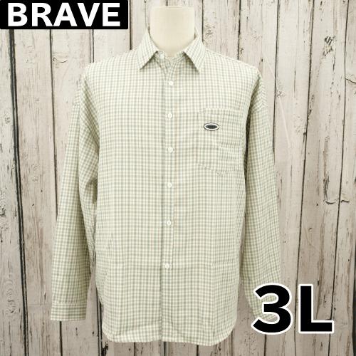 【美品】 BRAVE ワッペン  長袖 チェック シャツ 3L USED