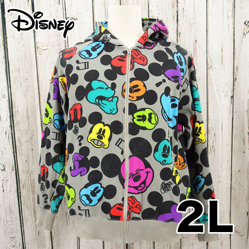 Disney(ディズニー) 総柄 ジップアップ パーカー 2L USED