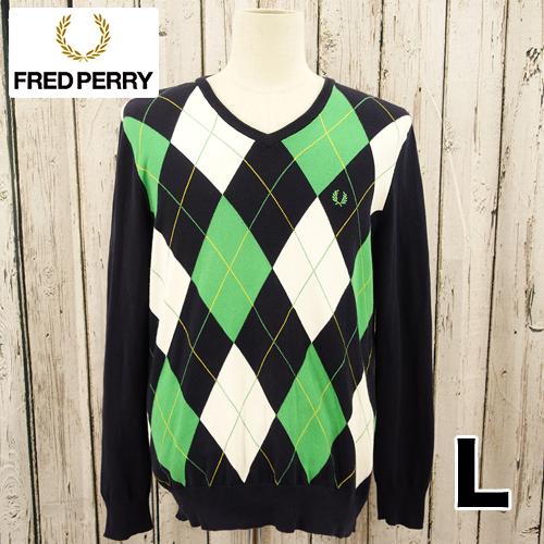 【美品】FRED PERRY(フレッドペリー)アーガイル ニット セーター  L USED