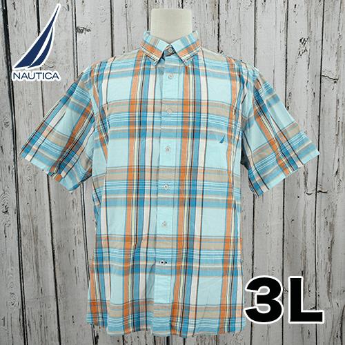 【美品】 NAUTICA(ノーティカ) 刺繍入り 半袖 チェック シャツ 3L USED