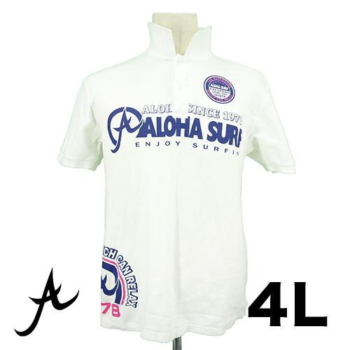 ALOHA SURF ビッグプリント ポロシャツ 4L USED 古着