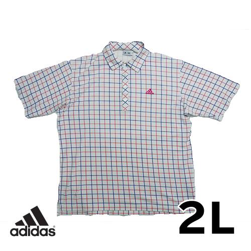 【美品】アディダス(adidas) チェック柄 半袖 ポロシャツ 2L