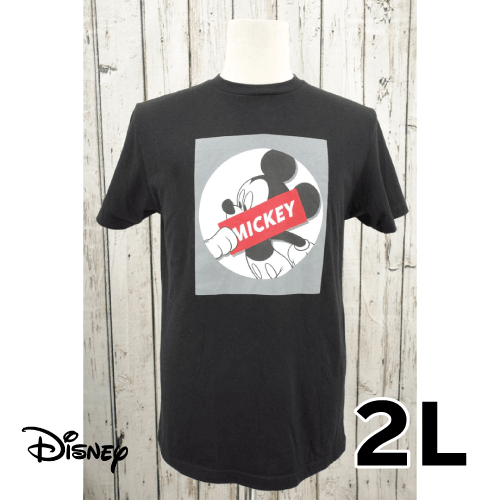 Disney(ディズニー) ミッキー ボックスプリント 半袖Tシャツ 2L USED 古着