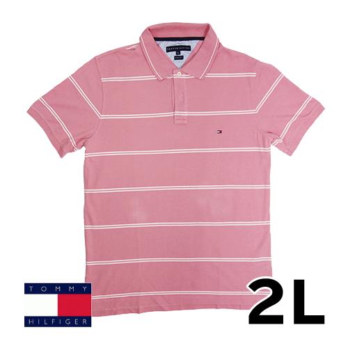 【美品】2L トミーヒルフィガー(Tommy Hilfiger) ポロシャツ ピンク