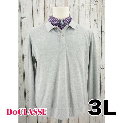 【美品】Do CLASSE デザイン 長袖 ポロシャツ 3L USED 古着