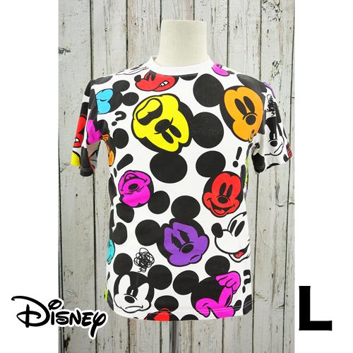Disney(ディズニー)マルチ ミッキー 半袖 Tシャツ L USED 古着
