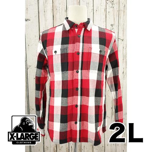 【美品】X LARGE 厚手生地 長袖 チェック シャツ 2L USED 古着
