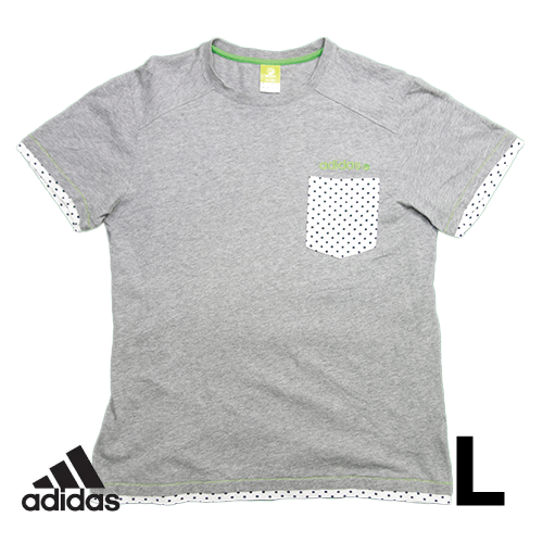 【美品】アディダス(adidas) 半袖Tシャツ L グレー 胸ポケット ドット USED 古着