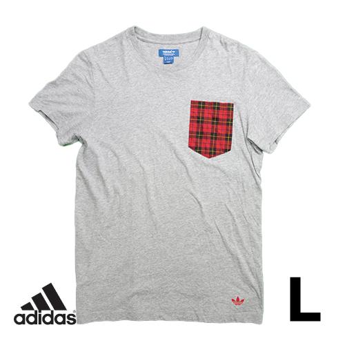 アディダス(adidas) 半袖Tシャツ L 胸ポケット チェック USED 古着