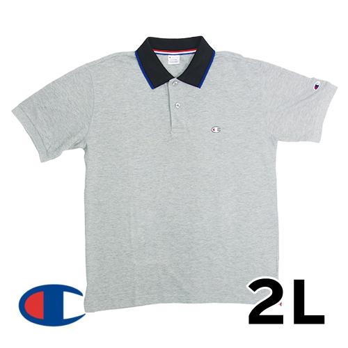 【美品】2L チャンピオン(champion) ポロシャツ グレー