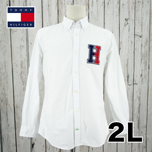 Tommy Hilfiger(トミーヒルフィガー) 長袖 シャツ 刺繍ビッグロゴ  2L USED 古着