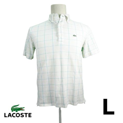 LACOSTE(ラコステ) 半袖ポロシャツ L 格子 ホワイト USED 古着