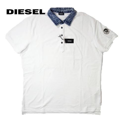 【数量限定】大きいサイズ メンズ  DIESEL ディーゼル #T-MILES デニム襟 半袖ポロシャツ  / ホワイト / 3L