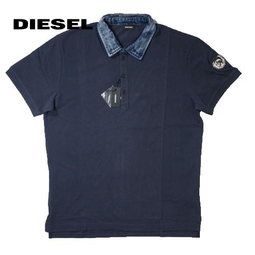 【数量限定】大きいサイズ メンズ  DIESEL ディーゼル #T-MILES デニム襟 半袖ポロシャツ  / ネイビー / 2L 3L