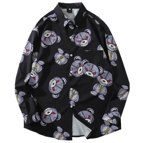 【数量限定】 大きいサイズ STREET サマー アウター HIPHOP BEAR 長袖 シャツ メンズ / ブラック / 2L 3L