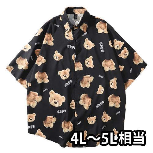 【数量限定】 大きいサイズ Teddy bear アロハシャツ メンズ / ブラック / L 2L (4L 5L相当)