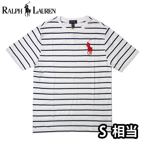 【数量限定】  Ralph Lauren ラルフローレン BIG PONY LOGO ボーダー 半袖Tシャツ メンズ / ホワイト / S