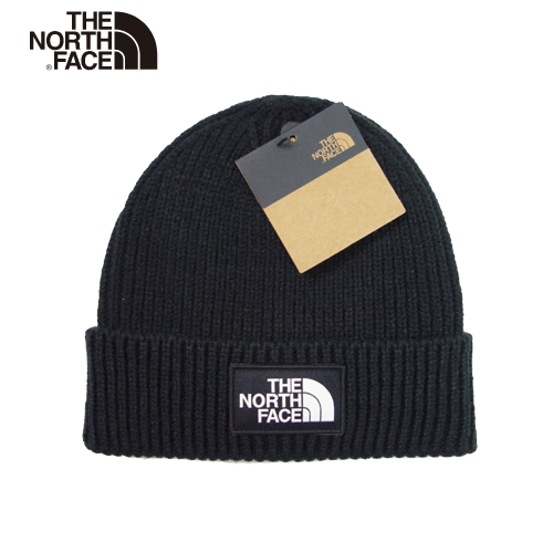 【数量限定】  大きいサイズ THE NORTH FACE ザ ノースフェイス ボックスロゴ ビーニー ニット帽 ニットキャップ 帽子 メンズ / ブラック / ONESIZE