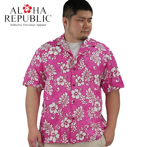 【数量限定】大きいサイズ メンズ  Aloha Republic アロハ・リパブリック バティックハイビスカス 半袖シャツ アロハシャツ /L 2L 3L(3L~5L相当)