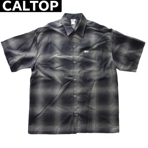 【数量限定】大きいサイズ メンズ  CALTOP キャルトップ LA チェック 半袖シャツ / ブラック×チャコール / 3L