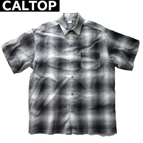 【数量限定】大きいサイズ メンズ  CALTOP キャルトップ LA チェック 半袖シャツ / グレー × ホワイト / 2L 3L