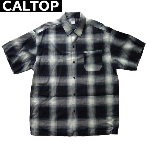 【数量限定】大きいサイズ メンズ  CALTOP キャルトップ LA チェック 半袖シャツ / ネイビー × アイボリー / 2L 3L