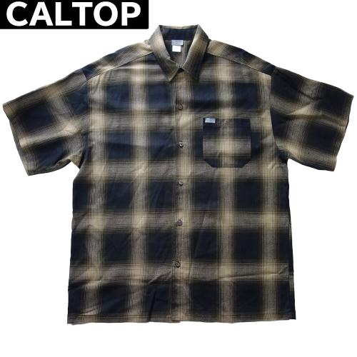 【数量限定】大きいサイズ メンズ  CALTOP キャルトップ LA チェック 半袖シャツ / ブラウン × カーキ / 3L