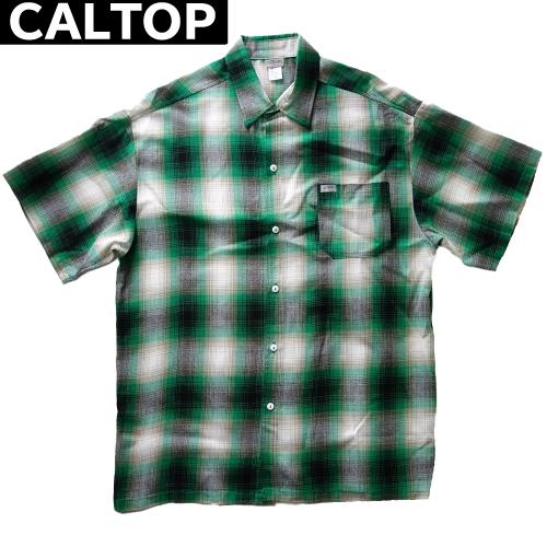 【数量限定】大きいサイズ メンズ  CALTOP キャルトップ LA チェック 半袖シャツ / グリーン × ホワイト / 2L