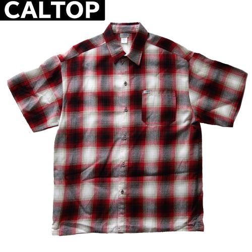 【数量限定】大きいサイズ メンズ  CALTOP キャルトップ LA チェック 半袖シャツ / レッド × ホワイト / 2L 3L