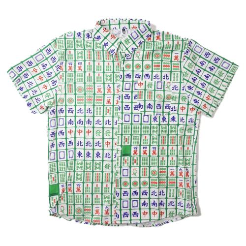 【数量限定】 大きいサイズ STREET サマー アウター 麻雀 半袖 シャツ メンズ / グリーン / 3L