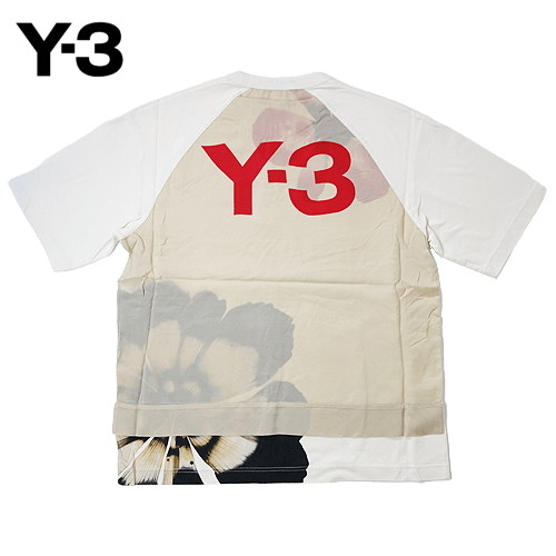 【数量限定】  大きいサイズ Y-3 ワイスリー シェードロージャージーフローラル 半袖Tシャツ メンズ / ホワイト / 2L
