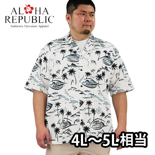 【数量限定】大きいサイズ メンズ  Aloha Republic アロハ・リパブリック デスティネーション パラダイス 半袖シャツ アロハシャツ / 2L 3L (4L 5L相当)