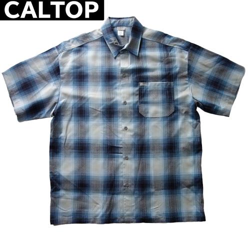【数量限定】大きいサイズ メンズ  CALTOP キャルトップ LA チェック 半袖シャツ / スカイ × グレー / 3L