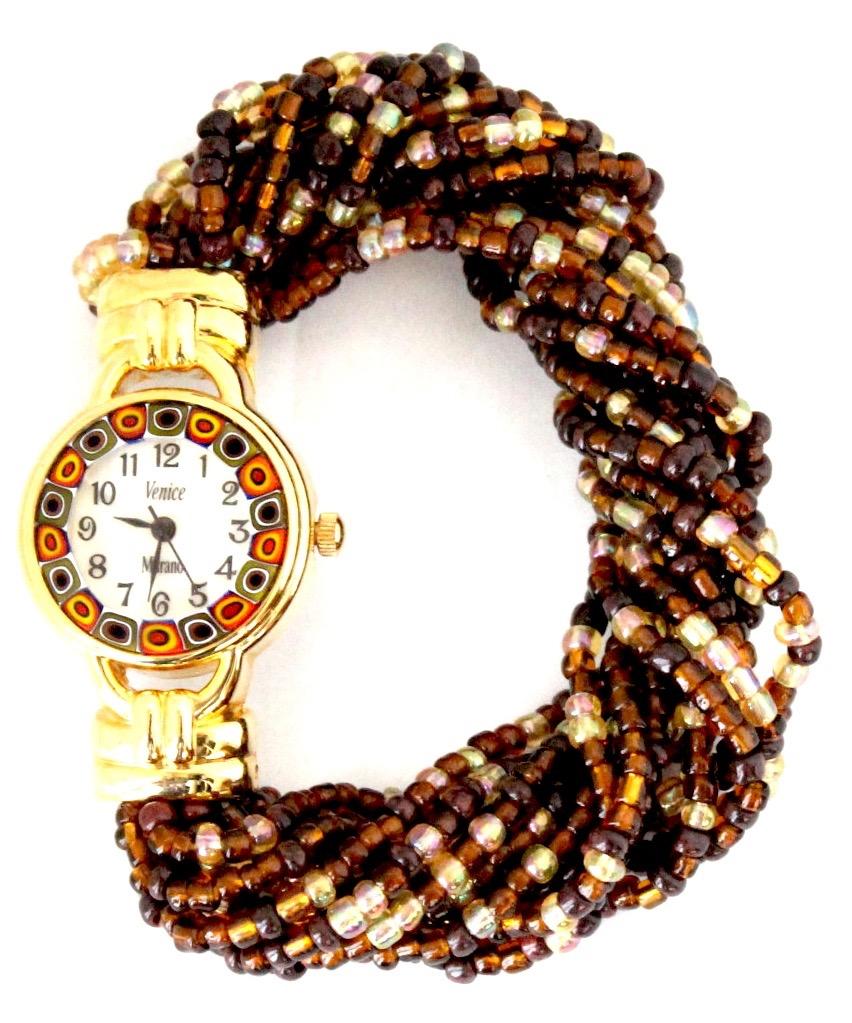 『限定品』ブラウンビーズブレスレットB腕時計