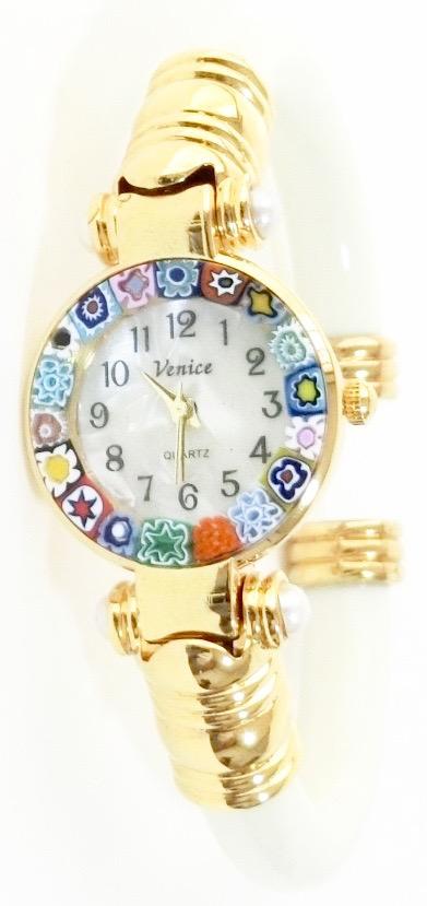 バングル腕時計ゴールドホワイト