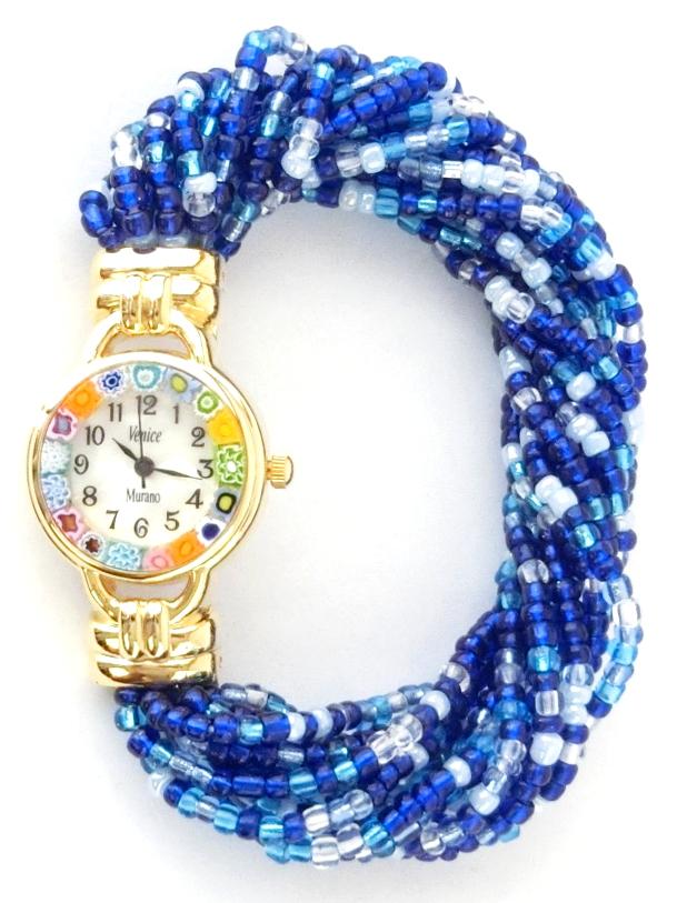 ブルービーズブレスレット腕時計